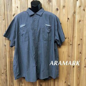 ARAMARK/アラマーク メンズ 2XLR ワークシャツ 半袖シャツ ポリコットン 刺繍 ワッペン PENSKE 企業系 アメカジ 作業着 USA古着