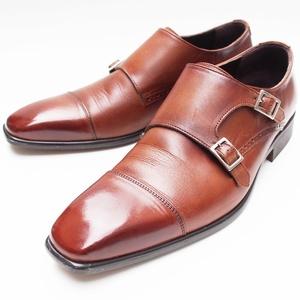 P.S.FA★25.5cm ダブルモンクストラップ 革靴 パーフェクトスーツファクトリー 紳士靴 ブラウン 茶 メンズ レザーシューズ