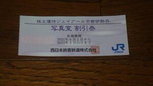 JR西日本株主優待 ジェイアール京都伊勢丹 写真室 割引券1枚