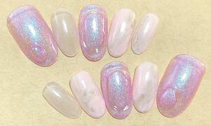ピンクカラー ちゅるんネイル ネイルチップ ジェルネイル