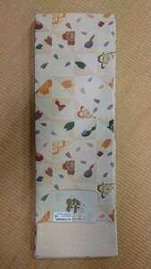 新品 仕立て上がり細帯 13 半巾小袋帯 リバーシブル クリーム 鱗 ポリエステル 花柄 袋帯 未使用 小紋 ウール 浴衣 アンサンブル 送料無料