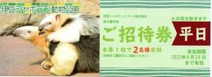 伊豆シャボテン動物公園 株主優待券 招待券 平日 2名分 1~3枚