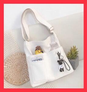 トートバッグ  ショルダーバッグ 白  ホワイト レディースバッグ 韓国 メンズバッグ