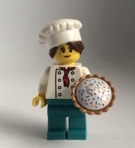 即決 新品 未使用 レゴ LEGO ミニフィギュア ミニフィグ シティ タウン パティシエの女の子 パイ ケーキ屋さん
