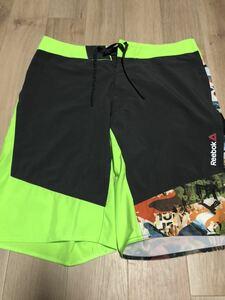 Reebok リーボック ハーフ ショート パンツ サイズ32 グリーン ブラック メンズ サーフ