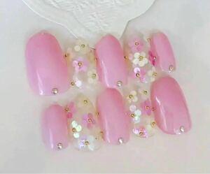 ネイルチップ 花びらネイル ジェル ピンク お花ネイル ショートオーバル 付け爪