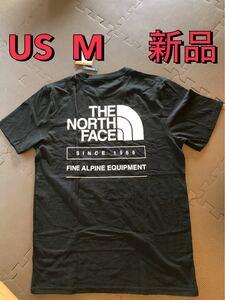 新品 ノースフェイス メンズTシャツ 限定 ハーフドームロゴ 黒 THE NORTH FACE 半袖Tシャツ M ブラック