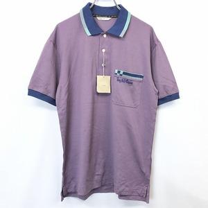 【新品】BAY HILL ベイヒル M メンズ ポロシャツ カットソー 鹿の子 ロゴ刺繍 半袖 胸ポケット付き 日本製 エジプト綿100% パープル 紫