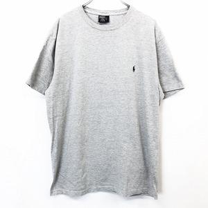 POLO RALPH LAUREN ポロラルフローレン S メンズ 男性 Tシャツ カットソー ワンポイントロゴ刺繍 丸首 半袖 綿×ポリ ヘザーグレー 杢灰色