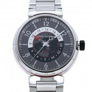 ルイ・ヴィトン LOUIS VUITTON タンブール グラフィット GMT Q1D30 グレー文字盤 中古 腕時計 メンズ