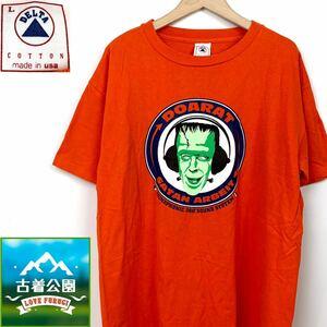 即決★サイズL★DOARAT★DELTAボディ アメリカ製半袖プリントTシャツ カットソー トップス オレンジ 米国製 USA製 メンズ T1495 古着公園