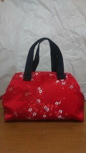 和柄の赤いワイヤーバッグ ハンドメイド