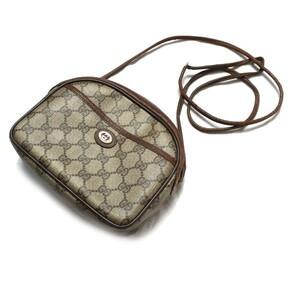 人気モデル♪ 80s イタリア製 OLD GUCCI オールドグッチ GGキャンバス ヴィンテージ ミニ ショルダーバッグ バック 鞄 レザー ベージュ