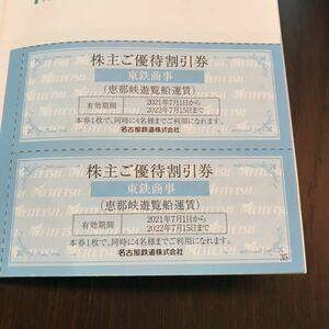 恵那峡遊覧船 運賃割引券2枚4名