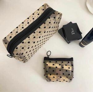 新品 可愛いバッグ コスメポーチ3個セット 透明化粧ポーチ おしゃれハート柄 メッシュ メイクポーチ