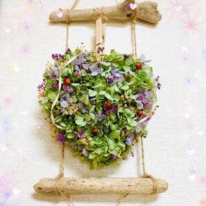 ハートリース プリザーブドフラワー ハンドメイド インテリア  ドライフラワー 花 紫陽花