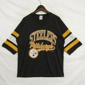 ★90s USA製★ NFL スティーラーズ サイズ L フットボール Tシャツ 90年代 ロゴ 50/50 ブラック LOGO 7 STEELERS 古着 ビンテージ 1JU0531
