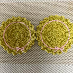 毛糸 ハンドメイド モチーフ 編み物 2点セット