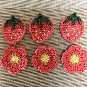 毛糸 ハンドメイド モチーフ 編み物 6点セット