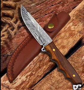 【ナイフの美しさを楽しめる】 狩猟刀 フルスタング ステンレス鋼 ローズウッド バトニング キャンプ サバイバル フィッシング