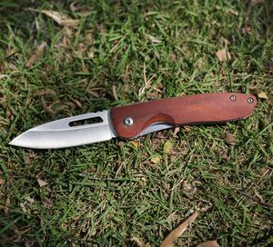 【工芸品の美しさに溢れるフォールディングナイフ】 折りたたみナイフ 木製ハンドル ライナーロック ステンレス鋼 キャンプ サバイバル