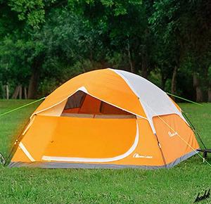 【とっても軽くコンパクトに収納】 クロスフレームドーム型テント 自立式 二重層 通気性 アウトドア レジャー ツーリング オレンジ