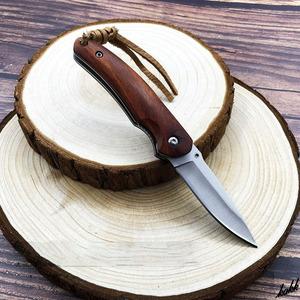 【超小型で軽量なフォールディングナイフ】 折りたたみナイフ 小型 ステンレススチール ローズウッド キャンプ サバイバル 釣り