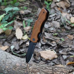 【9in1マルチツールフォールディングナイフ】 折畳みナイフ ステンレススチール 黒染め処理 ライナーロック キャンプ サバイバル
