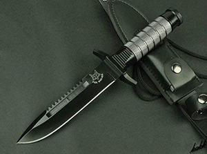 【ブラックで統一したシースナイフ】 黒染め加工 ステンレス鋼 ケース付き キャンプ サバイバル フィッシング 登山