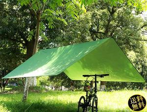 【コンパクトで軽量】 スクエアタープ 300×300cm 収納ケース 2つセット 防水 シルバーコーティング 遮光 UV対策 遮熱 グリーン