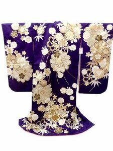 【即決】七五三 七歳 7歳 女子 四つ身 正絹 着物 紫地 菊 捻れ梅 笹 柄 No.2155