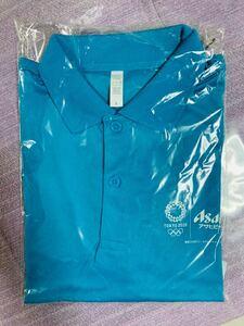 【未使用 TOKYO2020 ポロシャツ】ブルー 青 L メッシュ アサヒビール 限定 東京 和柄 オリンピック パラリンピック 送料無料