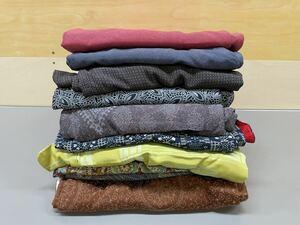 着物 10枚 まとめ売り 小紋 素材色々 リメイク ハンドメイド 和服 古着 中古品 女性