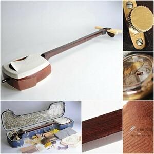 金細三味線 太棹 K18製金具 トチ目 東さわり 子持綾杉彫胴 ハードケース付 邦楽 楽器