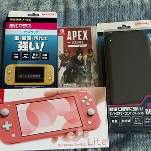 未使用に近い美品!Nintendo Switch Light コーラル ソフトケース付き