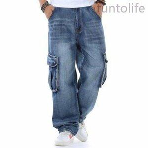 メンズファッションスキニーパンツストレッチパンツ ジーンズバギーパンツメンズデニムパンツ大きいサイズありデニムカーゴパンツ
