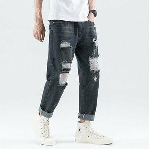 ジーンズ メンズ デニムパンツ ダメージ加工 オシャレ ジーンズ メンズ デニムパンツ ダメージ加工 オシャレ ジーパン ロング 涼しい 大
