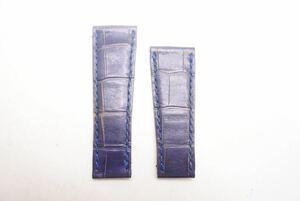 ROLEX ロレックス 純正 レザーベルト クロコ ブルー バンド 替え メンズ 中古 33732 正規品