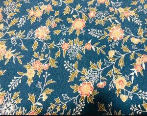 リメイク素材 ハギレ 着物 羽織ほどきかけ 正絹 青系花柄(3)