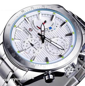 ★メンズ高級腕時計 42mm 機械式 自動巻 多機能 カレンダー エネルギー表示 ステンレス 紳士ウォッチ 夜光 防水 ホワイト
