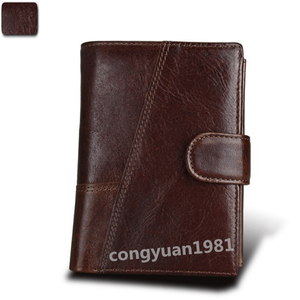 【1円~】 二つ折り メンズ 財布 レザー 本革 多機能 小銭入れあり カード収納 ショートウォレット 紳士 短財布 コーヒー ◇