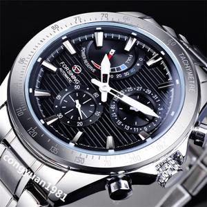 ★メンズ高級腕時計 42mm 機械式 自動巻 多機能 カレンダー エネルギー表示 紳士ウォッチ 夜光 防水 カジュアル ブラック