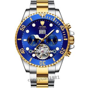 ★ メンズ高級腕時計 機械式自動巻 トゥールビヨン カレンダー 曜日表示 夜光 防水 男性ウォッチ 通勤 6色選択 G/B◇