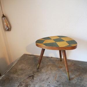 フランス ヴィンテージ 花台サイドテーブル机 木製ディスプレイ棚 家具 化粧棚シャビーミッドセンチュリー スプートニク小物古道具店舗什器