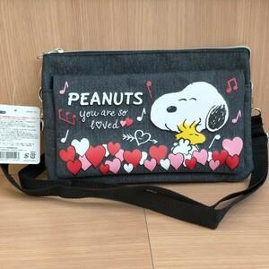 スヌーピー デニム風 サコッシュバッグ タグ付き PEANUTS アミューズメント景品 新品未使用