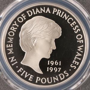 【準最高鑑定◆稀少!】◆故元プリンセスダイアナ妃 1999 イギリス ◆エリザベスⅡ◆ 追悼記念 5ポンド 銀貨 PCGS PR69 DCAM ◆プルーフ