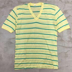 【送料360円】C&A シーアンドエー Vネック半袖Tシャツ ボーダー柄 男性用 メンズ アクリル素材 イタリア製 サイズ42 ユーロ古着 H-940