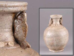 中国古玩 唐物 白磁 魚双耳 花瓶 時代物 極上品 初だし品 a9441