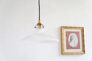 フランスアンティーク ガラスペンダントランプ/クリアガラスランプ/antique/フレンチ照明/クリスタル/シャンデリア/アンティーク照明