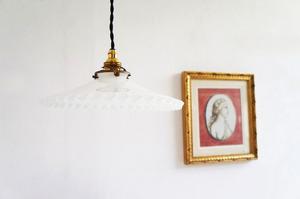 フランスアンティークフリルガラスペンダントランプ/クリアガラスランプ/antique/フレンチ照明/クリスタル/シャンデリア/アンティーク照明